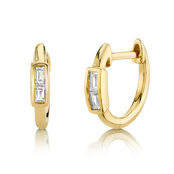 baguette cut diamond hoop earrings