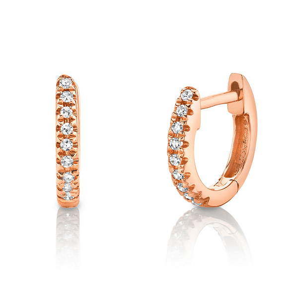 small rose gold diamond hoop earrings