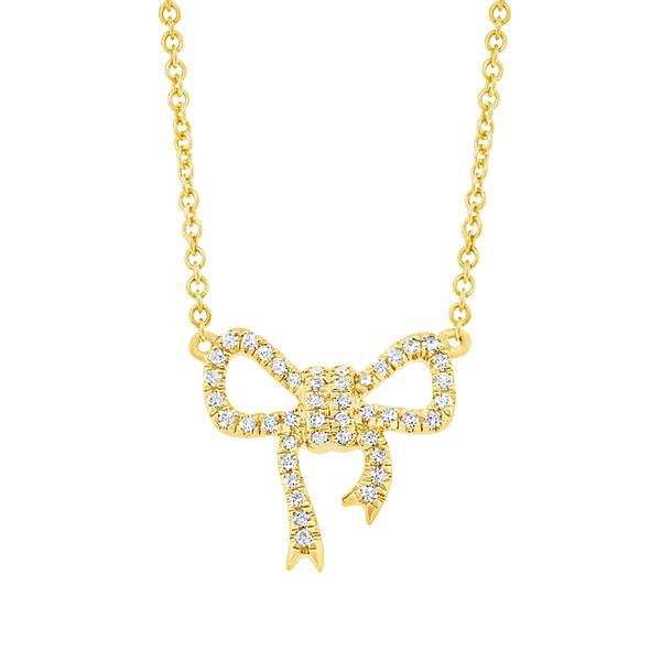 gold bow diamond necklace