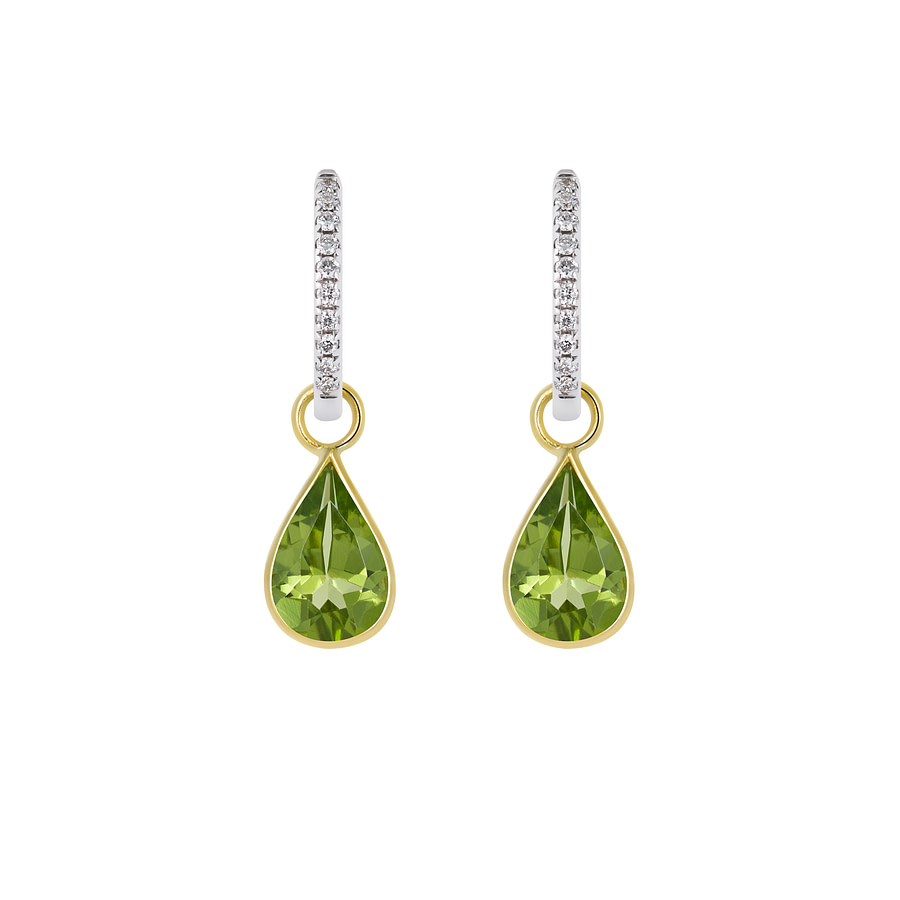 peridot gold drop earrings