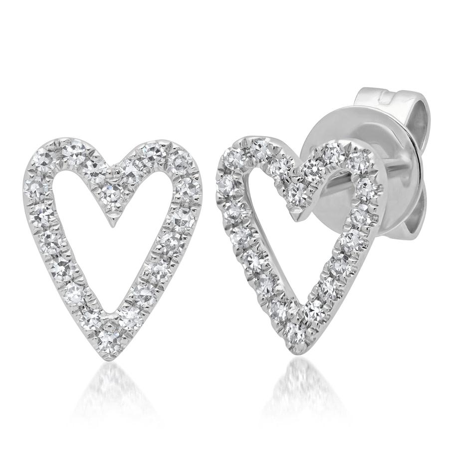 diamond heart earrings white gold