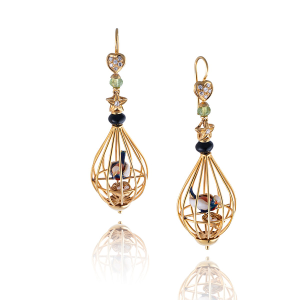 gold bird cage earrings