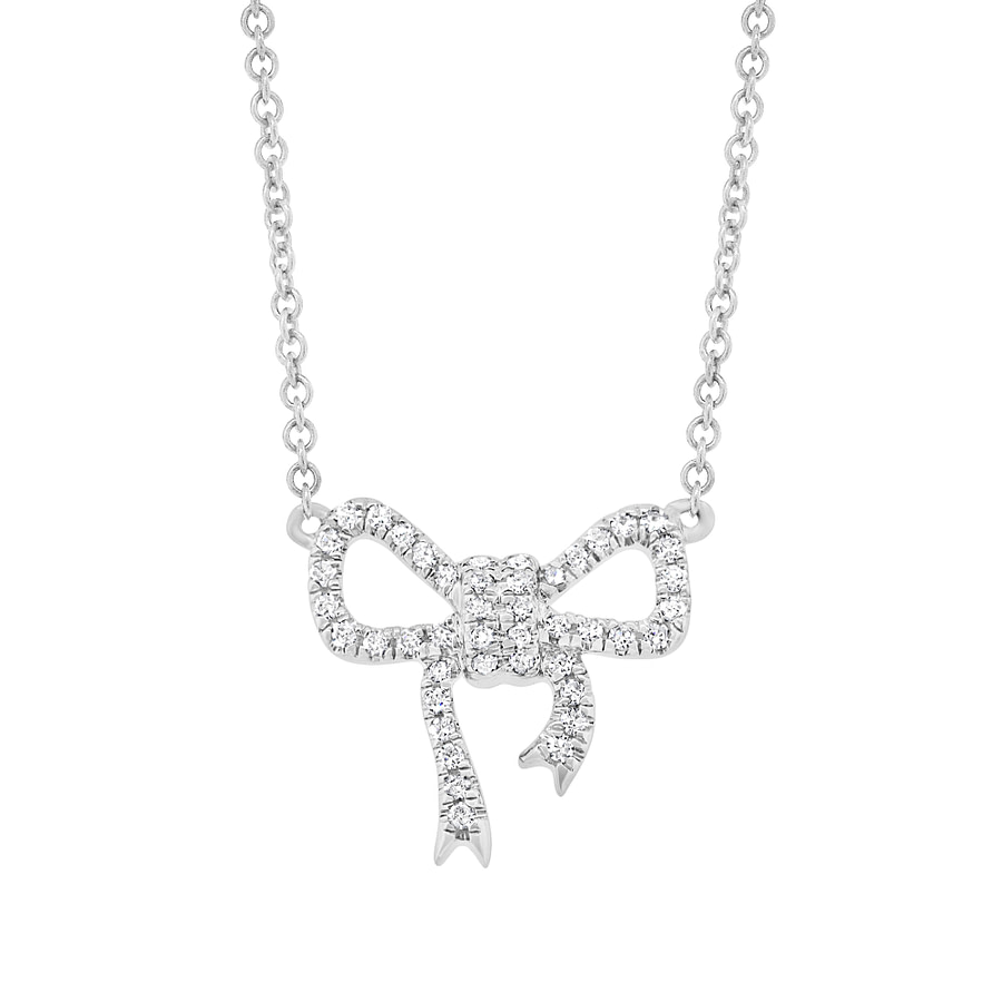 white gold bow necklace