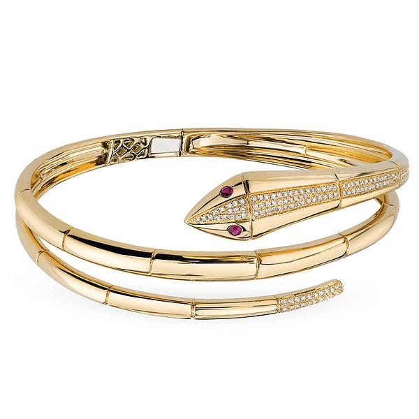 14k gold snake bangle bracelet