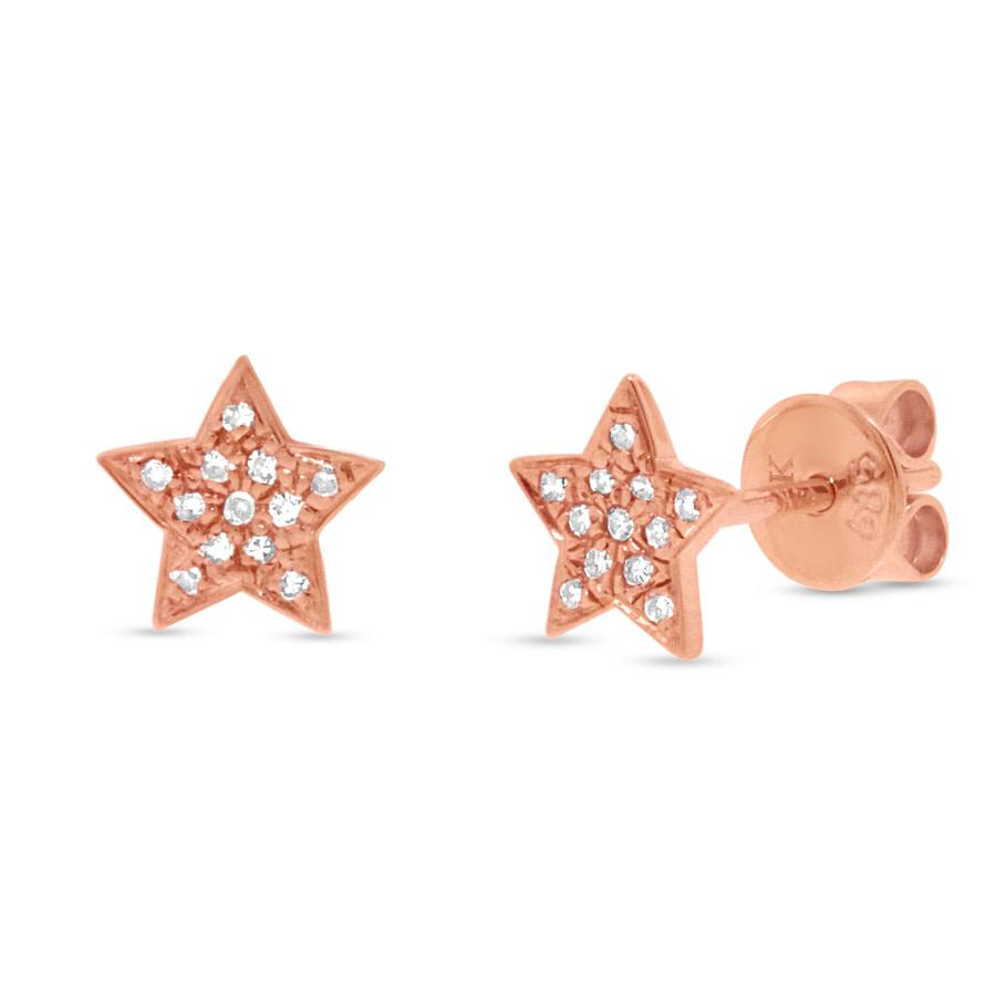 Diamond Star Stud Earrings in Rose Gold