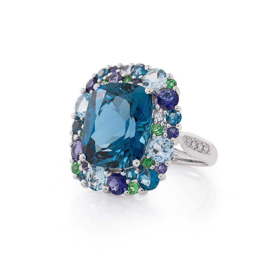 large blue topaz cocktail ring