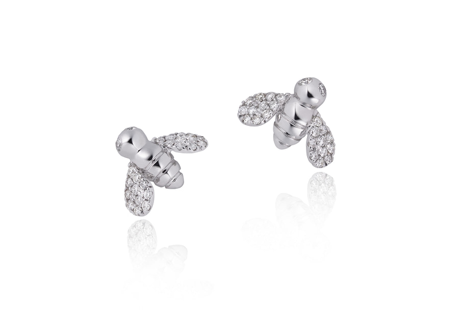 diamond bee earrings