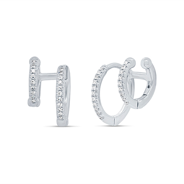 white gold double hoop earrings