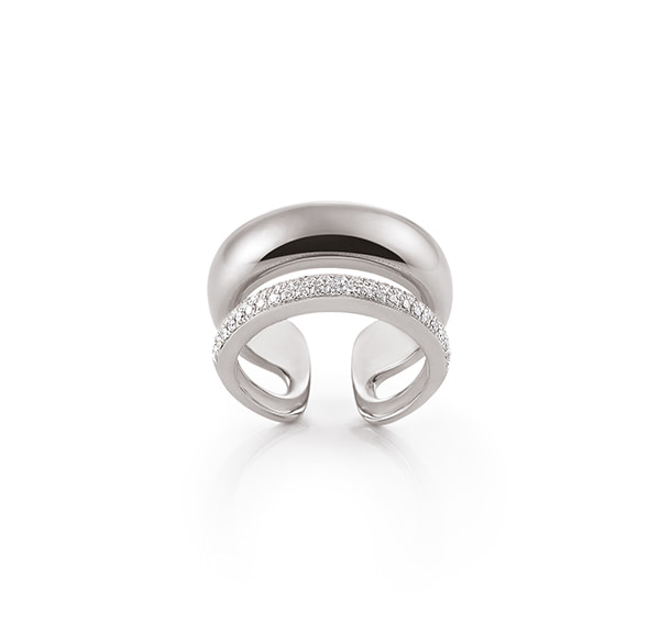 contemporary white gold diamond ring