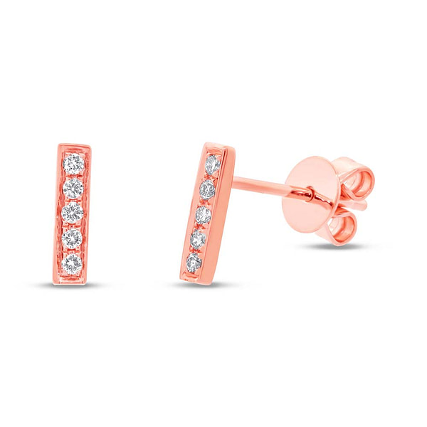 rose gold diamond bar stud earrings