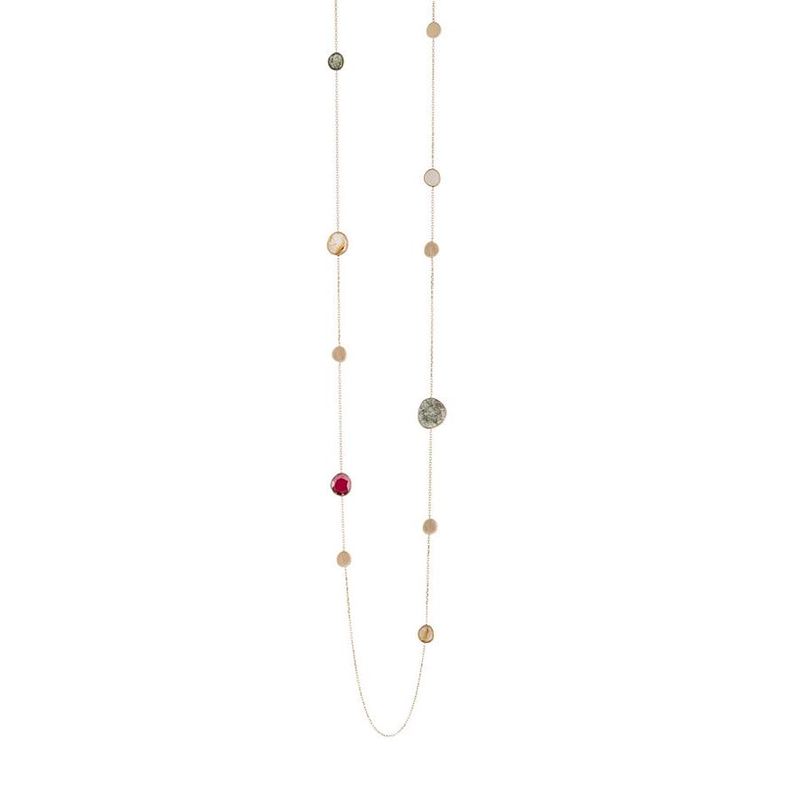 multi gem necklace gold