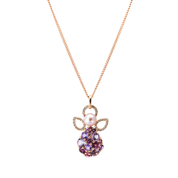 gold diamond angel pendant