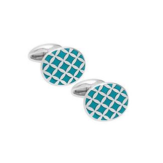 silver and enamel cufflink