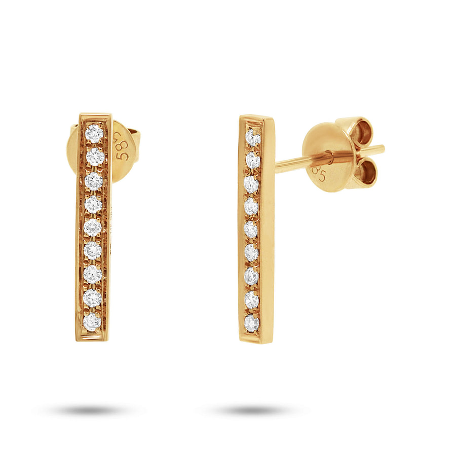 diamond bar drop earrings