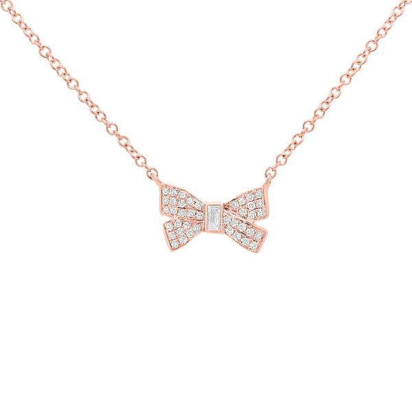 baguette diamond necklace rose gold
