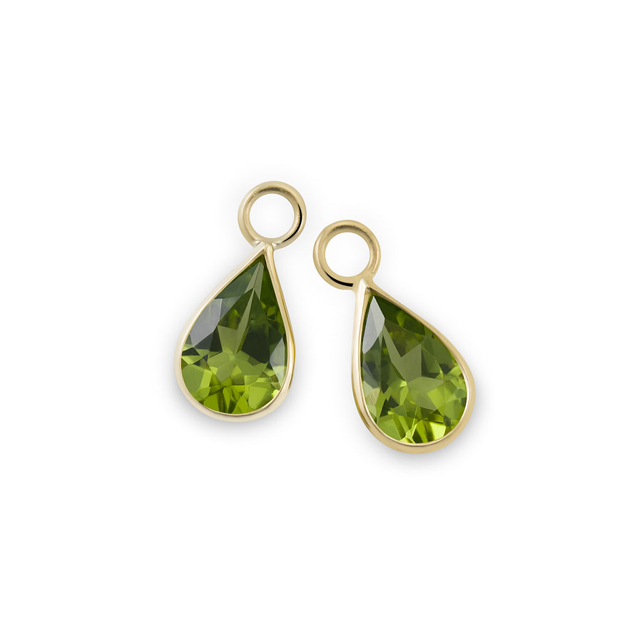 peridot gold drop earrings