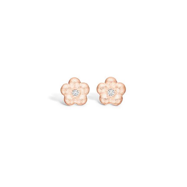 rose gold diamond flower earrings