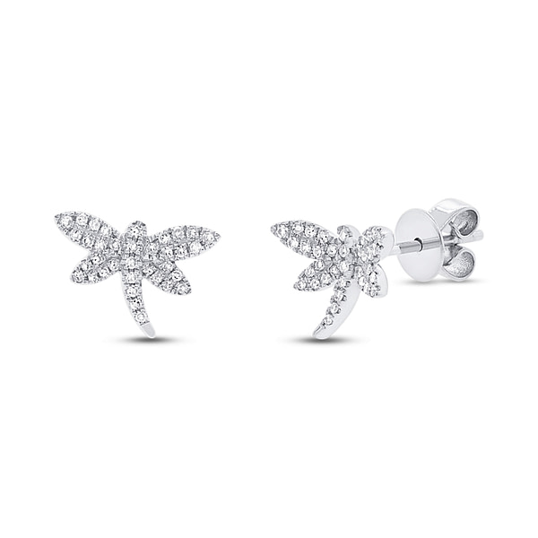 dragonfly earrings white gold