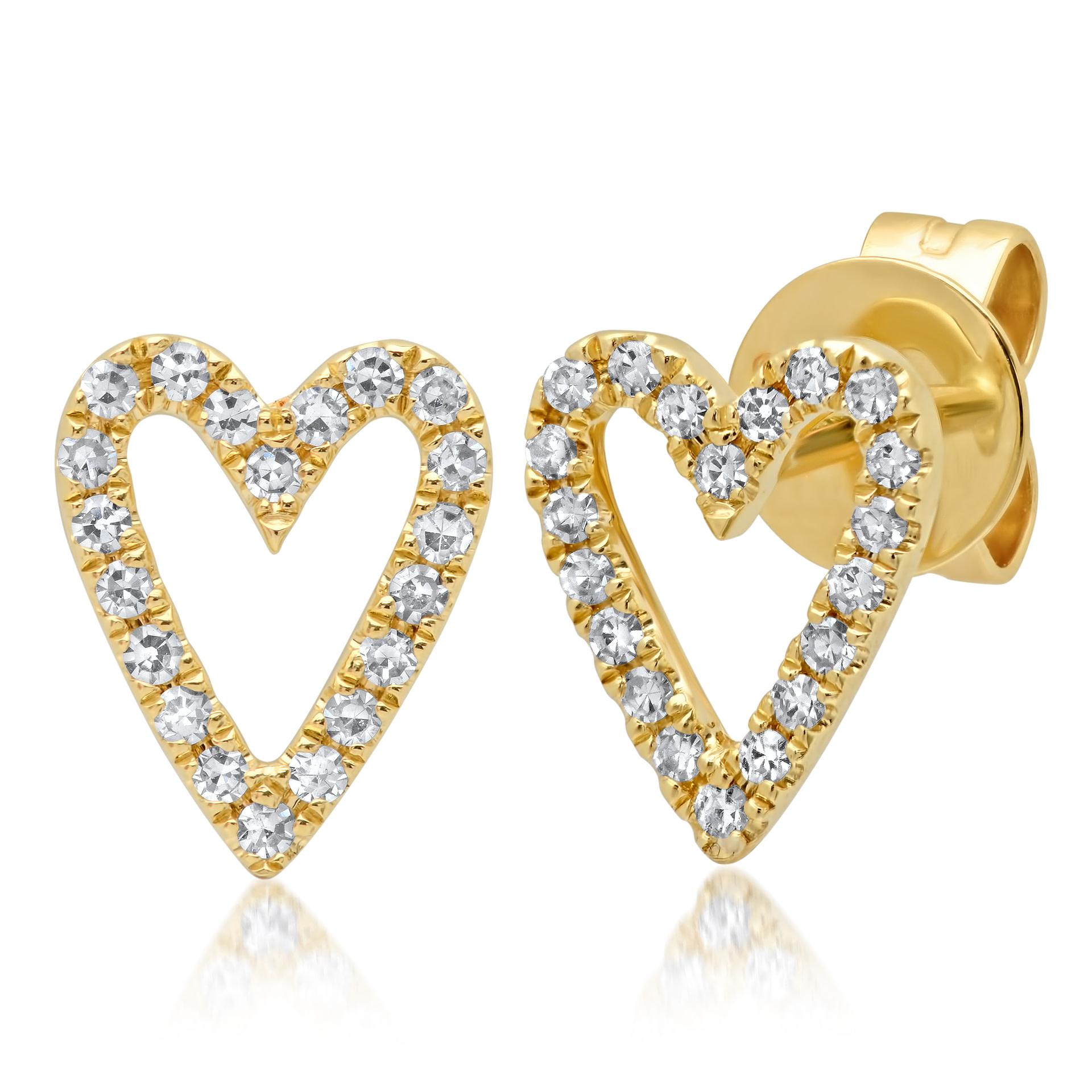 Heart Shaped Diamond Earrings Yellow Gold Jacqui Larsson