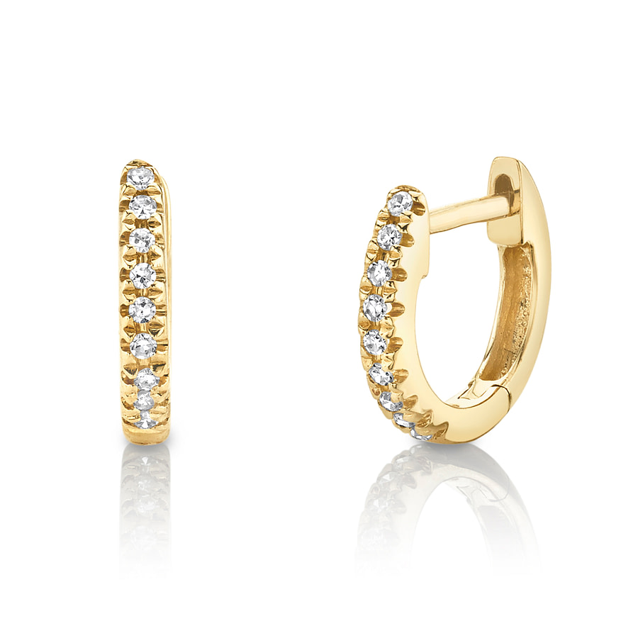 small diamond hoop earrings yellow gold