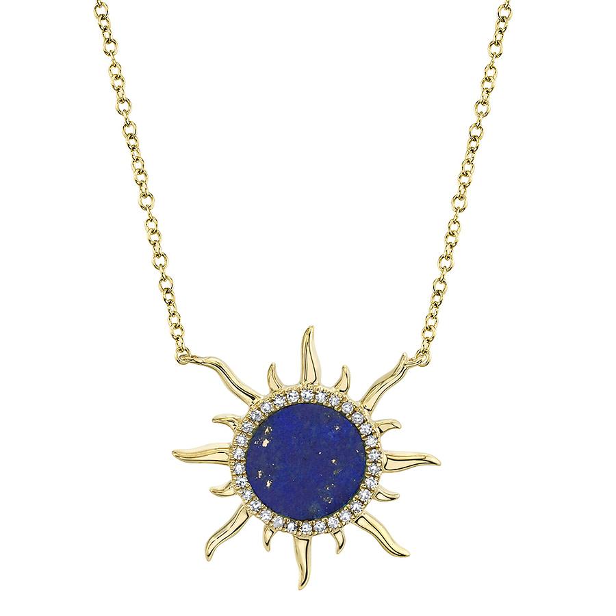 lapis lazuli & diamond sun pendant necklace