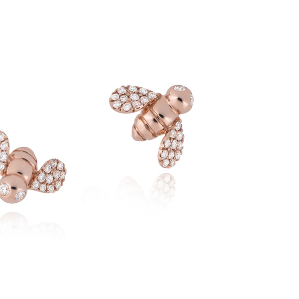 rose gold bumble bee earrings