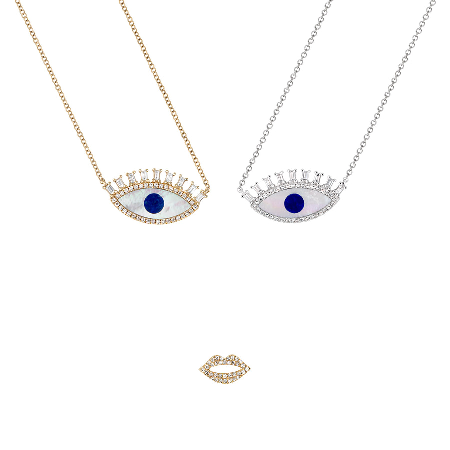 14k gold evil eye pendant